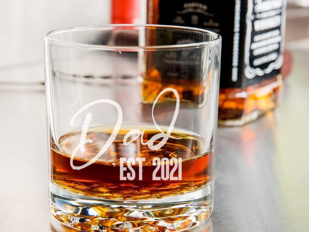 """Personalized """"Dad"""" Engraved Whiskey Glass"""