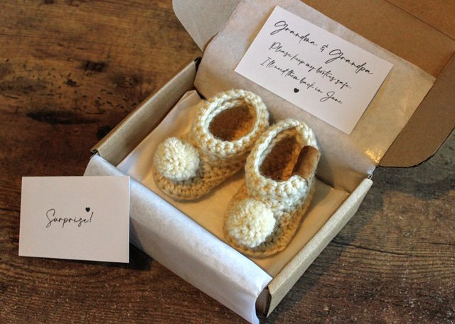 Pregnancy Announcement Box with Booties